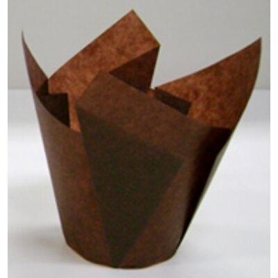 Muffin kapszli - tulipános, barna (200 db)