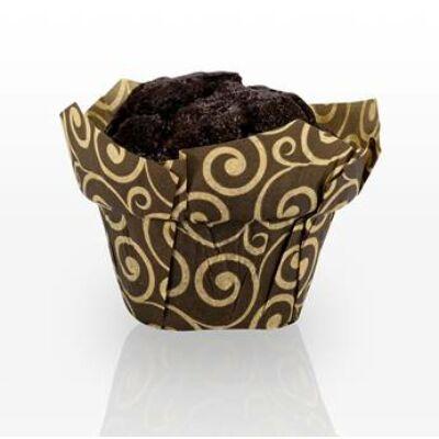 Muffin kapszli - barna, arany mintával (100 db)
